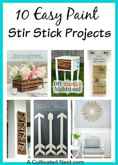 10 Paint Stir Stick Projects, DIY and Crafts, Paint stir sticks are an amazingly versatile (and free) DIY resource! Check out these 10 paint stir stick projects for some cute craft ideas! Paint Stir Sticks, Painted Sticks, Diy Craft Projects, Craft Ideas, Decor Ideas, Diy Ideas, Decorating Ideas, Upcycled Crafts, Easy Crafts