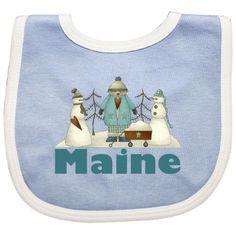 Inktastic Maine Snow Kids Baby Bib Travel States U.s. Gift Clothing Infant Hws, Blue