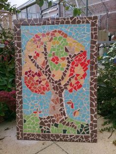 Outdoor autumn tree mosaic. Ceramic tiles on cement backer board :-)