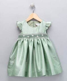Mint Smocked Daisy Dress by Fantaisie Kids. Flower girl option for a mint/aqua wedding.
