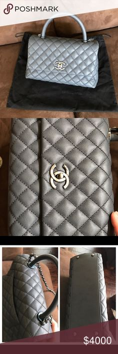 6e8131f1e4b8 Small Chanel Coco Handle Coco Handle Carviar In Grey. Comes with dustbag  and box. Will lower through CHANEL Bags