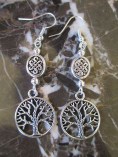Sweet Tibetan Silver Wicca Celtic Knot Tree Of Life Handcrafted Artisan Earrings