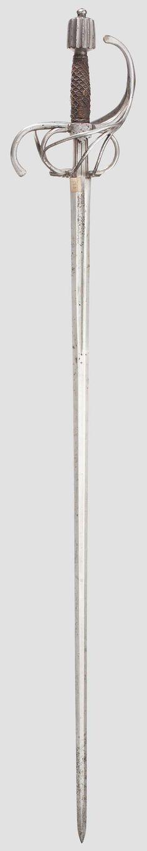 Espada de doble filo con guarda de lazo - Marca: lobo de Passau - Longitud total: 111 cm.