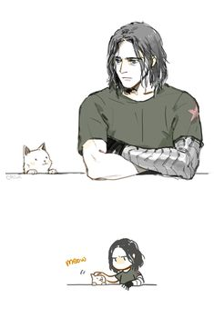 Bucky with a kitten xD
