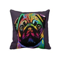 pug + rainbow colours + cushion!!!