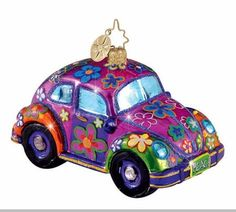 Christopher Radko Flower Power VW Beetle Christmas Ornament