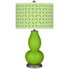 Neon Green Circle Rings Double Gourd Table Lamp -