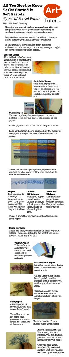 The type of surface you use with your pastels is as important as the type of pastels you use. This guide breaks down the most popular papers on the market. Taken from Michael Howley's Soft Pastels Foundation Course on ArtTutor.com #pastelpainting