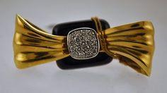 Diamond and Black Onyx Necktie Brooch