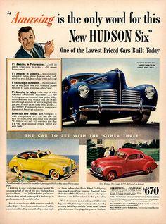 1940 Hudson Six Original Car Print Ad