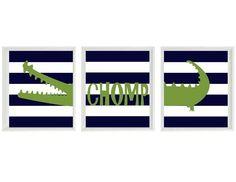 Alligator Nursery Art Prints - Navy Blue Stripes Green Gator Decor Chomp Madras - Children Kid Baby Boy Room - Home Decor 8x10. $42.00, via Etsy.