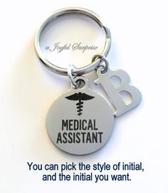 Medical Assistant KeyChain MA Key chain, Gift for Medical Assistant Student Graduation Keyring MA Key Chain initial letter custom men female by aJoyfulSurprise on Etsy