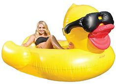 "Amazon.com: GAME 5000 Giant Derby Duck, Inflatable Balloon Animal Pool Float, Quick-Fill Valves, 300-Pound Capacity, Built-in Cup Holders, 81"" L x 76"" W x 44"" T: Garden & Outdoor"