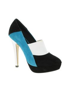 Black, blue and white, a color shoe! ASOS PERU Suede High Heels with Color Block, $ 33.33.