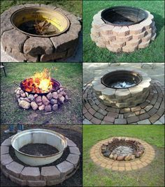 diy fire pit on concrete patio – Fire pit ideas Fire Pit Backyard, Backyard Patio, Backyard Landscaping, Concrete Fire Pits, Concrete Patio, Tire Garden, Lawn And Garden, Rim Fire Pit, Outdoor Fireplace Designs