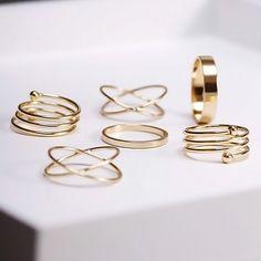 6-teiliges Ring-Set im Goldton -Lesara