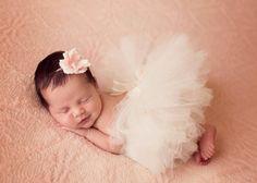 Newborn Ivory Tutu And Matching Headband by RachelsKidsBoutique