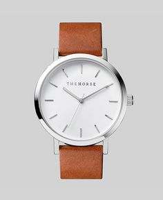 The Horse | The Original Watch | Polished Steel / White / Tan Leather