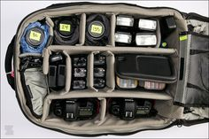 The contents of Zack Arias' camera bag. Why haven't I thought of labeling my lenses? I will be doing that soon.