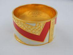 Signed Coach Signature C Logo Red & White Enamel Wide Gold Tone Bangle Bracelet #Coach #Bangle