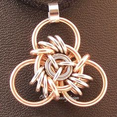 Chainmaille Pendant Vyking's Triskelion 25 - EnVee Jewelry Design