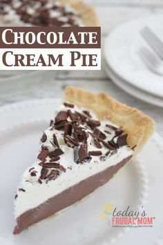 This easy and delicious chocolate cream pie recipe is sure to please all the sweet tooths in your house! :: http://todaysfrugalmom.com