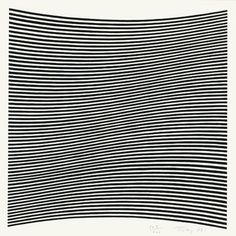 Bridget Riley (b1931) is a British artist.  Around 1960 she began to develop her signature Op Art style consisting of black and white geometric patterns that explore the dynamism of sight and produce a disorienting effect on the eye.