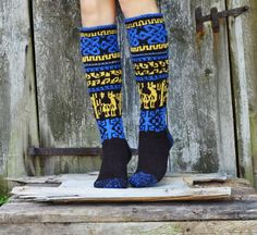 Handknit women  knee high socks from uprecycled wool by WoolSpace, $57.00