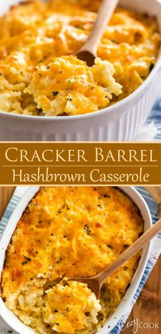 This Copycat Hash Brown Casserole is a perfect breakfast idea and tastes just like the Cracker Barrel version! There are easy make-ahead steps and you can freeze leftovers! recipes with eggs hash browns Copycat Cracker Barrel Hashbrown Casserole Cracker Barrel Hashbrown Casserole, Hash Brown Casserole, Hamburger Casserole, Chicken Casserole, Cracker Barrel Recipes, Beef Recipes, Cooking Recipes, Recipies, Kraft Recipes