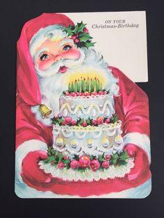 Vintage Christmas Birthday Greeting Card UNUSED Santa Birthday Cake NORCROSS
