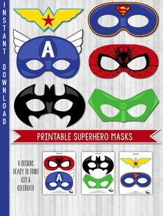 INSTANT DOWNLOAD Superhero Party Masks Superhero by LaBelleStudio