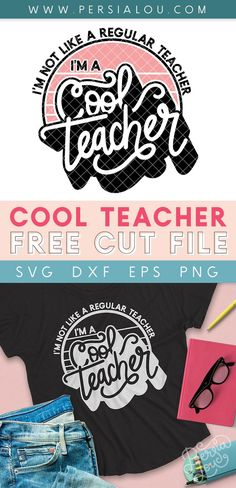Free Cool Teacher SVG Cut File - use this free design with your Silhouette or Cricut to make awesome gifts for the coolest teachers you know Bee Crafts, Vinyl Crafts, Paper Crafts, Silhouette Cameo Projects, Silhouette Design, Scan N Cut Projects, Cricut Tutorials, Cricut Ideas, Cute Cuts