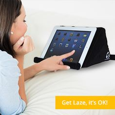 Lazepad Air Features: Two angle options for kid and adults Inflates in seconds and comes with an extra slip case for easy portability Made From extra thick, high quality Oxford smooth fabric. Easy to use Pressure Indicator Compatible with iPad, Android Tablets, Blackberry Playbook, Windows 8 Tablets, Kindles