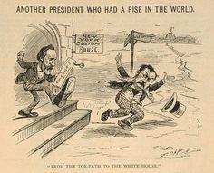 Cartoon of a man kicking another man into the street