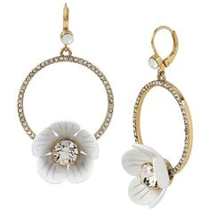 Betsey Johnson I Dream Of Gypsy Hoops ($40) ❤ liked on Polyvore featuring jewelry, earrings, white, pave earrings, charm earrings, hoop earrings, betsey johnson earrings and flower earrings