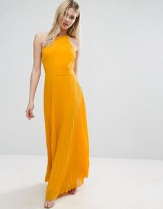 ASOS $64 halter pleated dress.    This could work for canary or tangerine, since it's between the two. Also floor length, but yellow dresses are hard to come by.