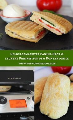 Rezepte Vegane - Just another WordPress site Panini Sandwiches, Sandwich Recipes, Bread Recipes, Salami Sandwich, Barbecue Recipes, Grilling Recipes, Pain Panini, 1000 Calories, Tartiflette Recipe
