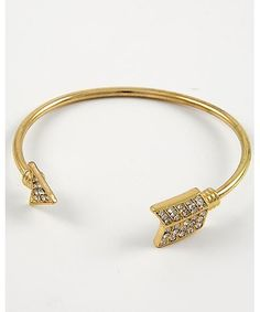 351697 Gold Tone / Clear Rhinestone / Lead&nickel Compliant / Arrow Cuff Bracelet