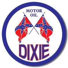DIXIE MOTOR OIL Confederate Flag Logo Garage Tin Sign #795 Retro Vintage, Vintage Metal Signs, Antique Signs, Old Gas Pumps, Vintage Gas Pumps, Garage Signs, Garage Art, Old Gas Stations, Confederate Flag