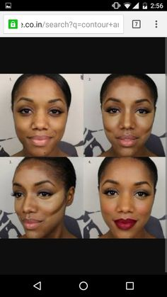 Incredible contour and highlight tutorial for Dark Skin. She is stunning with and without make-up! Face Contouring, Contour Makeup, Contouring And Highlighting, Beauty Makeup, Face Makeup, Hair Beauty, Contouring Brown Skin, Contouring Tutorial, Contour Face