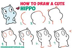 How to Draw a Cute Cartoon Baby Hippo and Butterfly Easy Step by Step Drawing Tutorial for Kids & Beginners (Kawaii / Chibi style) Funny Drawings, Doodle Drawings, Cartoon Drawings, Easy Drawings, Animal Drawings, Drawing Animals, Flower Drawings, Doodle Art, Easy Drawing Steps