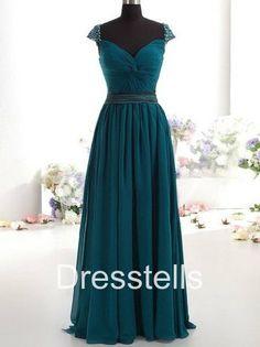 Cap Sleeve Bridesmaid Dress Dark Blue ~ Bridesmaid by dresstells on Etsy