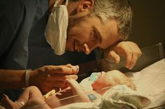 This reminds me of my daughter and her father. When she was first born and they had her under the light taking her measurements and everything, she was screaming bloody murder.  As soon as her father leaned over and started whispering in her ear she stopped crying instantly and just starred at him, it was truly breathtaking in every sense of the word. <3