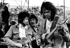 Bob Dylan, Rick Danko and Neil Young at S.N.A.C.K. Sunday in San Francisco, 1975