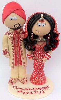 Personalised, unique Indian Bride and Groom wedding cake toppers, I can make whatever you want, any outfits/poses, I ship world wide www.googlygifts.co.uk This example £149.99 for the people, £9.99 for base-any text, colour or shape.