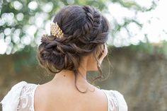 Coiffure maquillage mariage à lyon, Beauty Art Coiffure, coiffure mariée  tresse couronne brune broche