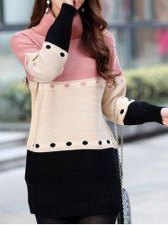 $15.85 Sweet Turtle Neck Color Block Striped Long Sleeves Thick Sweater For Women