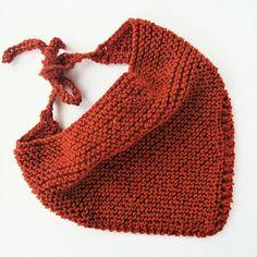 Orange bandana knitted neck scarf festival scarf copper