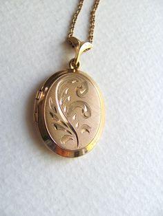 Vintage 12k gold oval locket etched 1950s or by MySoCalledVintage, $78.00
