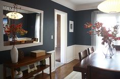 The navy walls are Benjamin Moore's Hale Navy which Julia chose herself and had color-matched in Olympic's no VOC paint